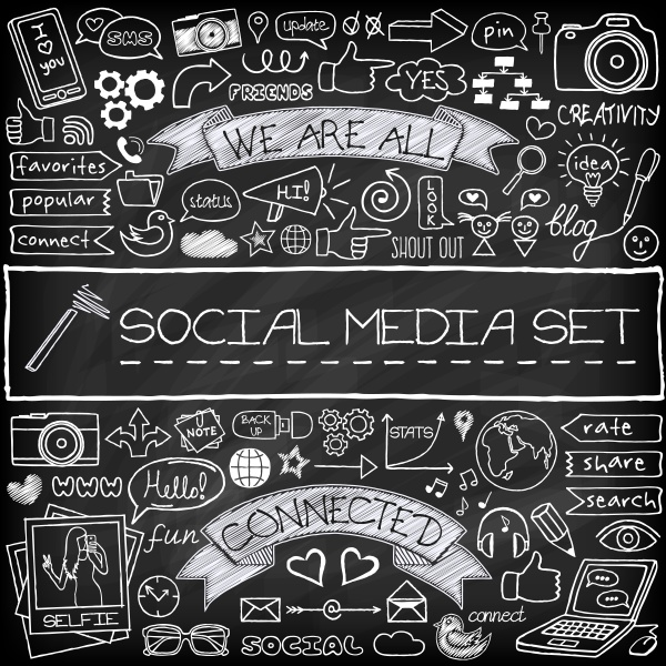 doodle social media icons set with