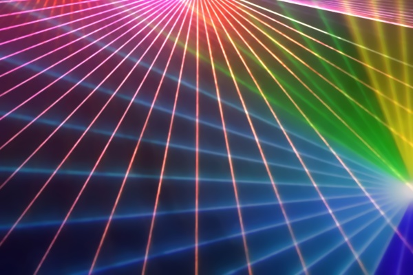 colorful anniversary laser show with some