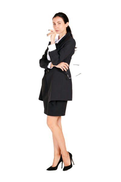 business women in black suits hold