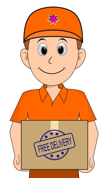 friendly courier with orange shirt delivering