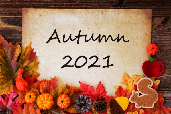 old paper with autumn 2021 colorful