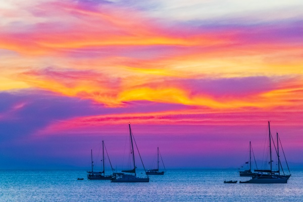 the most beautiful colorful sunset koh
