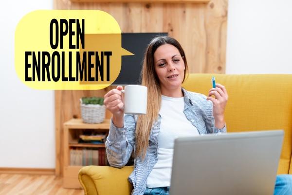 text caption presenting open enrollment business
