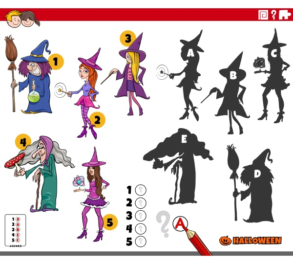 shadows game with cartoon halloween witch