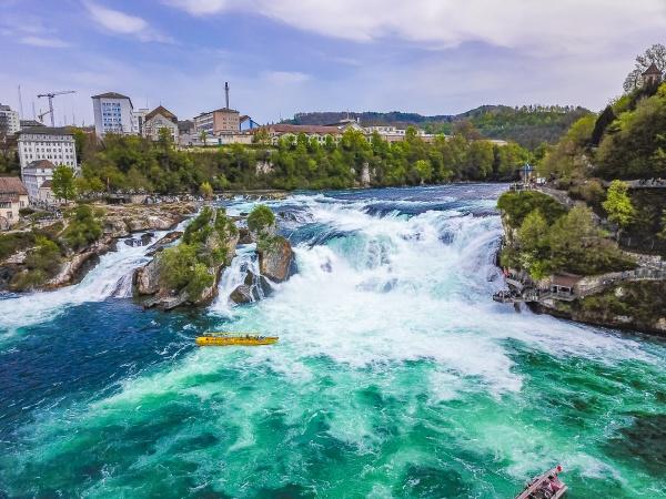 rhine falls europes largest waterfall panorama
