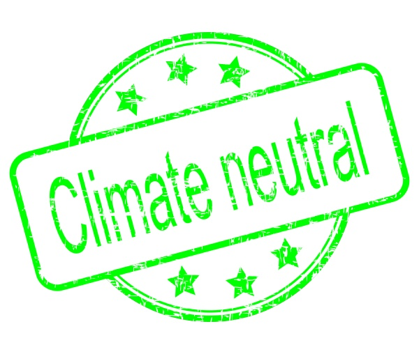 climate neutral button green on white