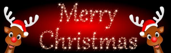 reindeers wishing merry christmas on glossy