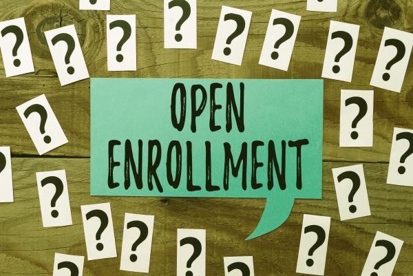 text showing inspiration open enrollment business