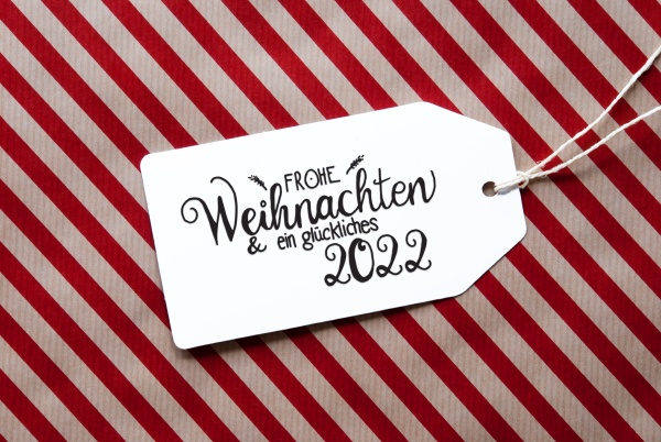 red wrapping paper label glueckliches 2020