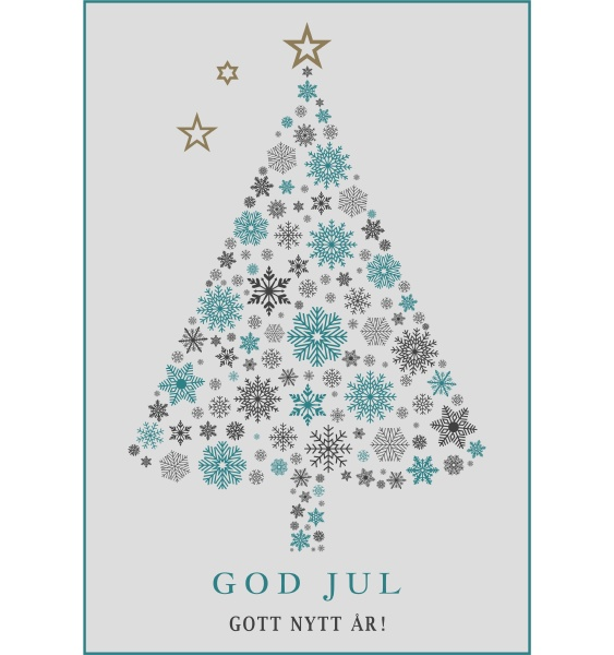 god jul tree vector with snowflakes