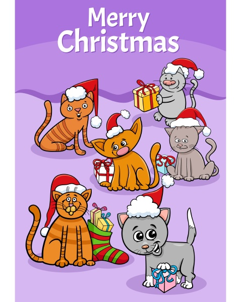 design or card with cartoon cats