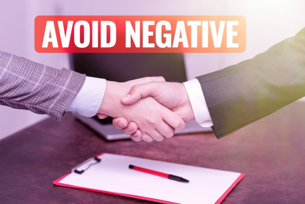 text sign showing avoid negative internet