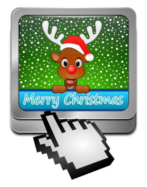 merry reindeer wishing christmas button with