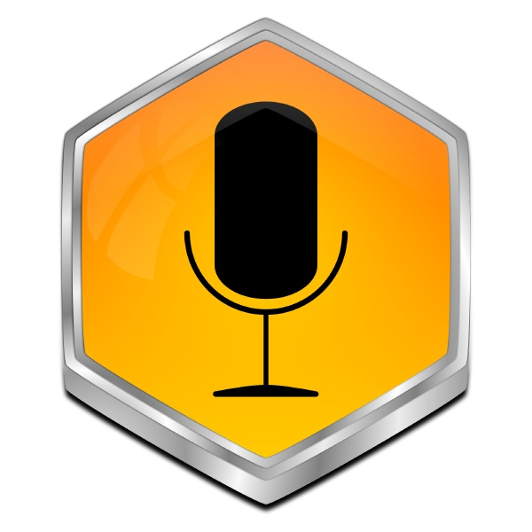 button with microphone orange