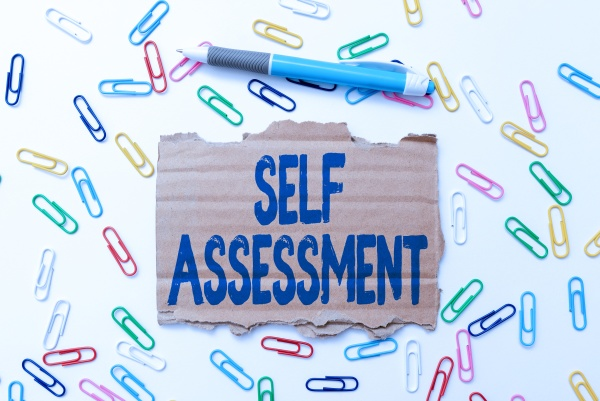 text sign showing self assessment