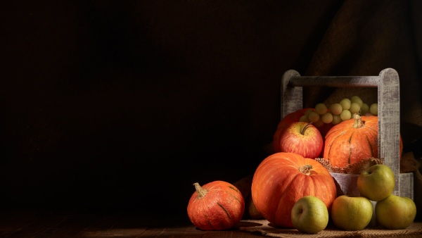 ripe pumpkins apples and pears in