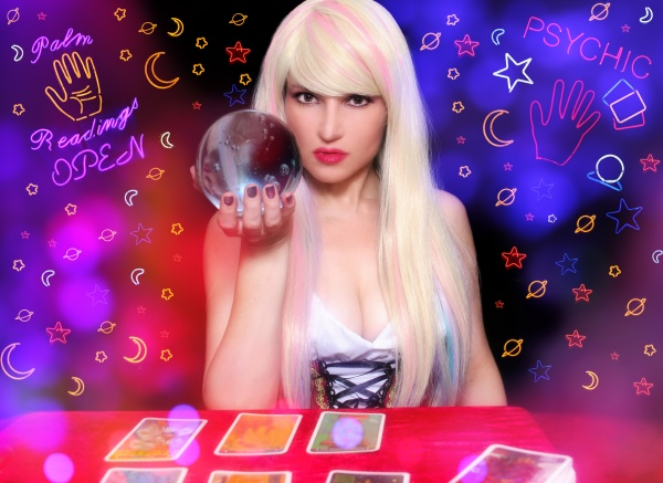 psychic with blond hair and crystal