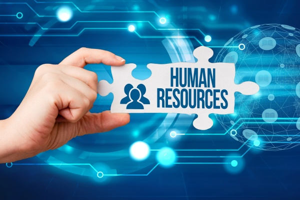 sign displaying human resources word for