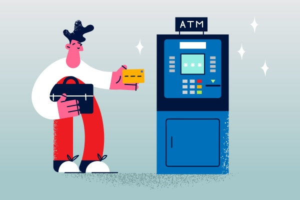 withdrawal cash money in atm concept