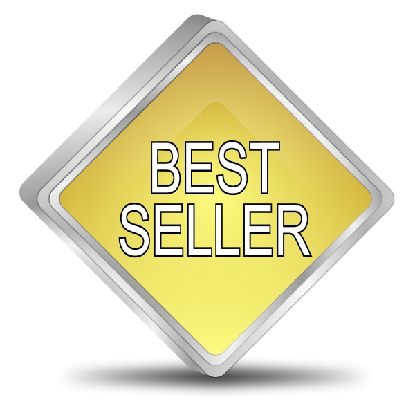 bestseller button gold 3d illustration