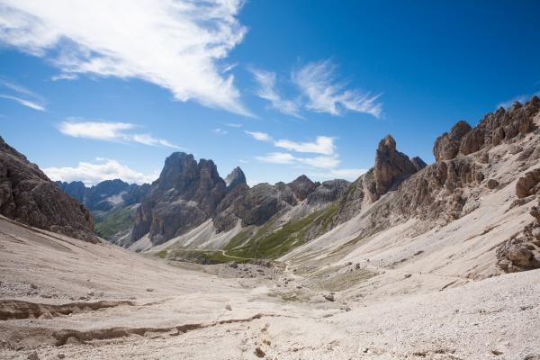 dolomites landscape trekking path in high