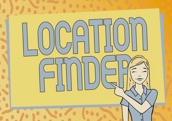 text caption presenting location finder word