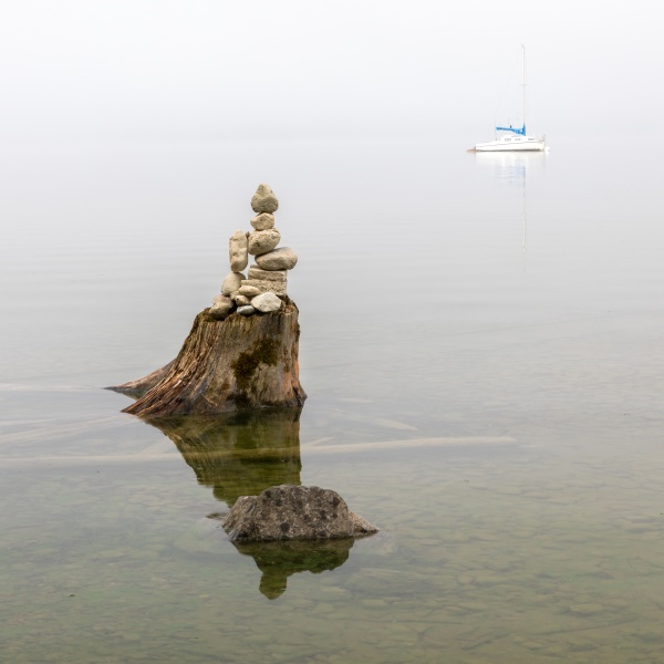 misty summer morning at lake ammersee