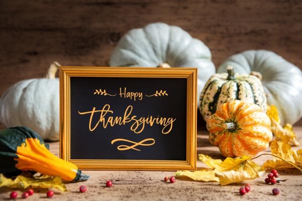 autumn pumpkin decoration text happy thanksgiving