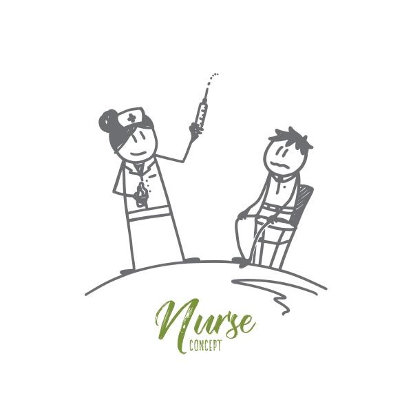 nurse concept hand drawn isolated vector