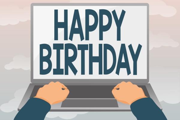 conceptual display happy birthday business idea