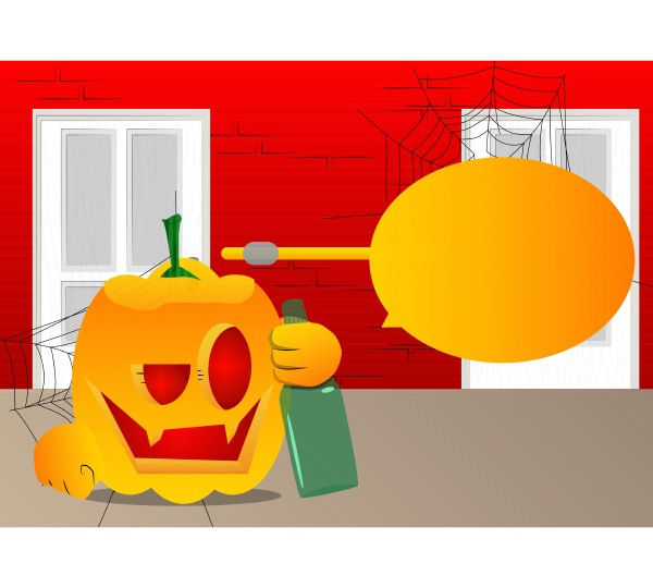 pumpkin for halloween holding a bottle