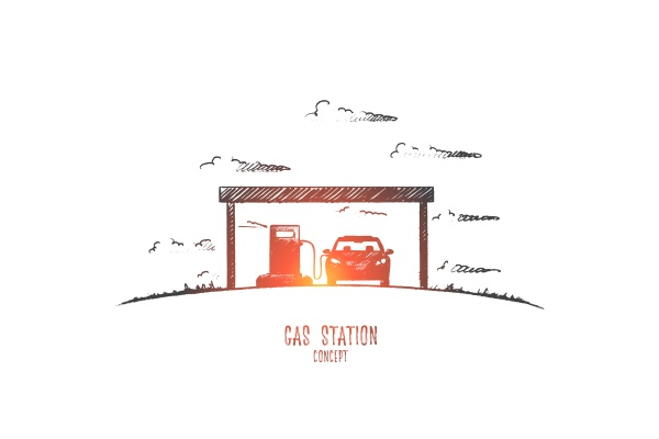 gas station concept hand drawn