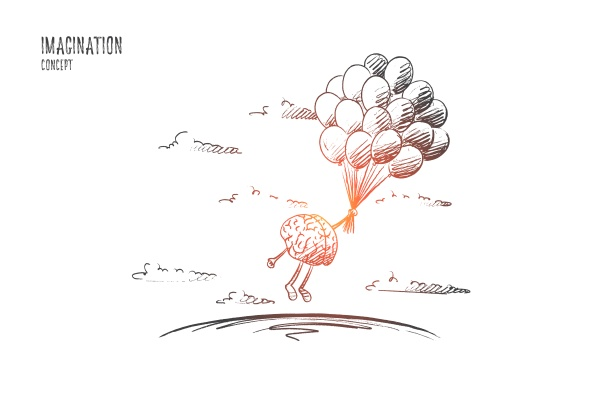 imagination concept hand drawn isolated
