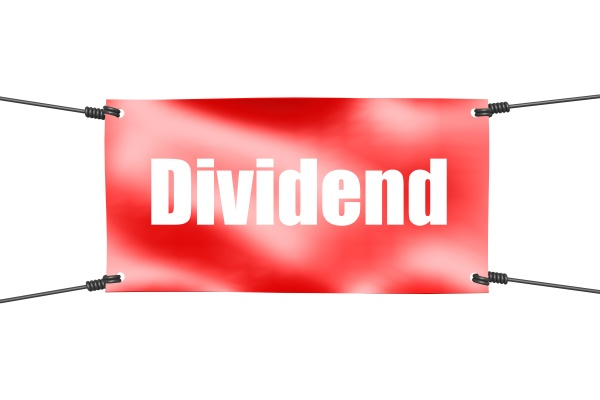 dividend word with red banner