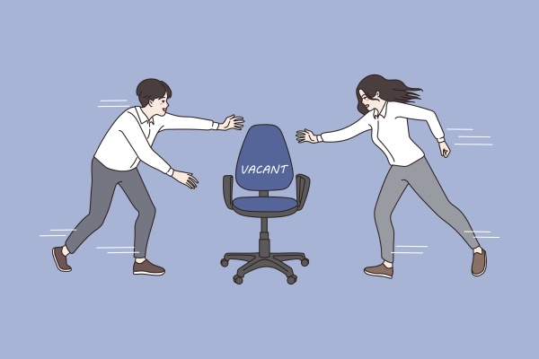 man and woman compete for office