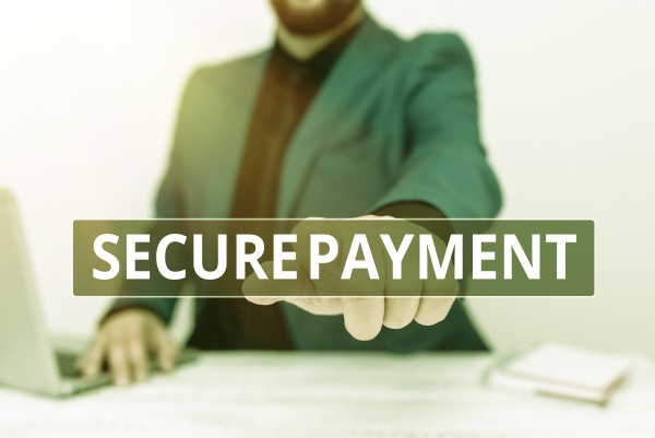 sign displaying secure payment business showcase