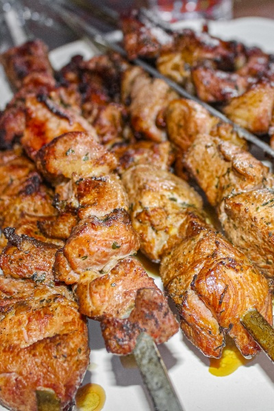 russian shashlik with skewers on a