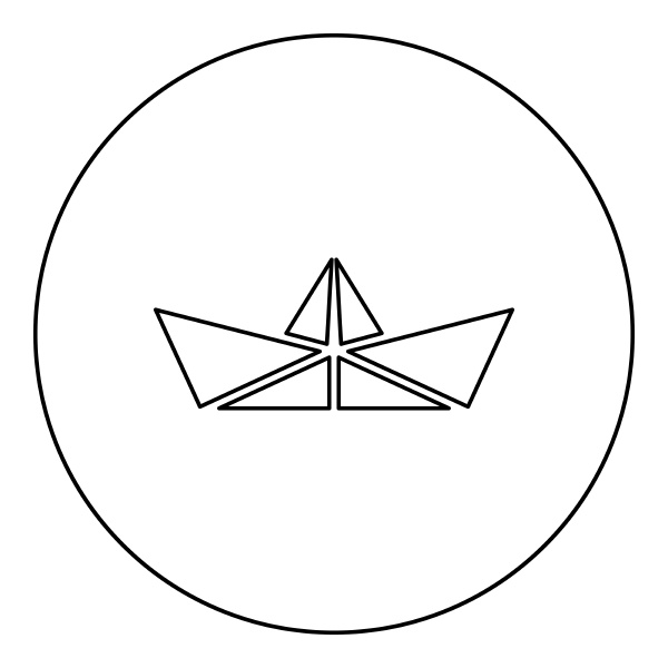 paper ship boat origami icon in