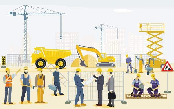 construction site with excavator handyman