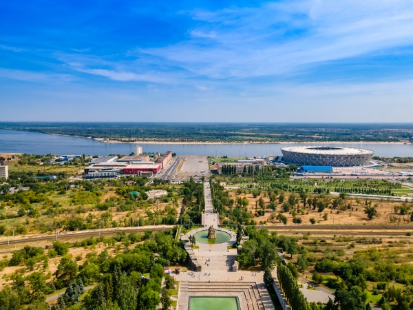volgograd russia aerial view of the