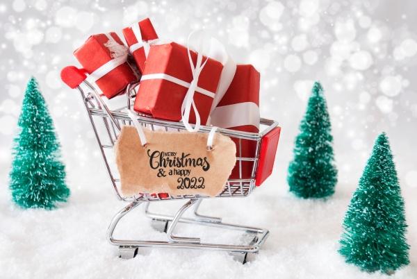 shopping cart snow christmas gift merry