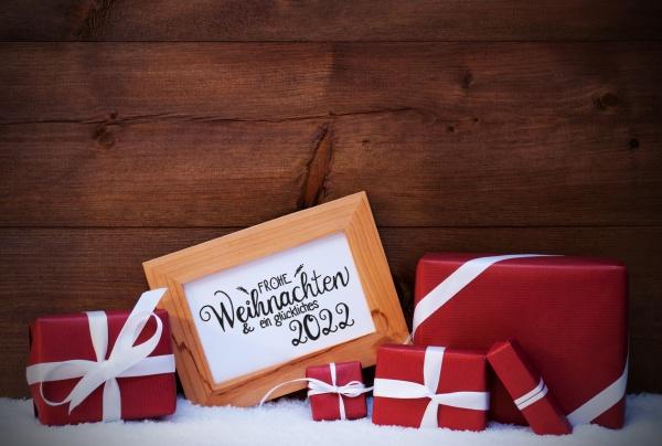 frame red gift snow glueckliches 2022