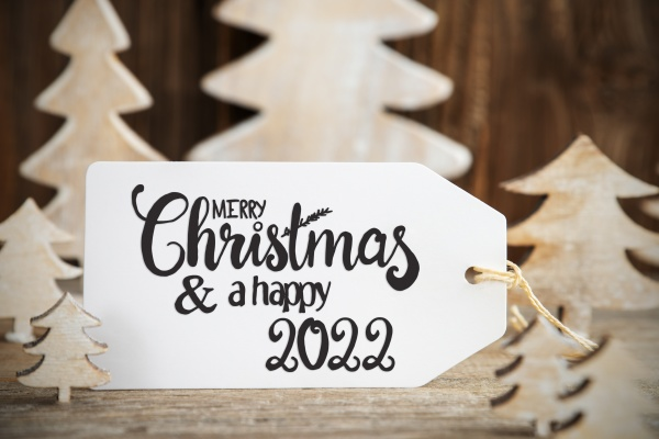 christmas tree label with english text