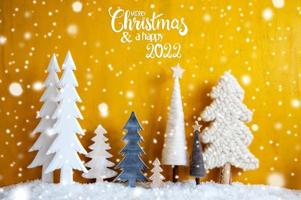 christmas trees snowflakes yellow background merry