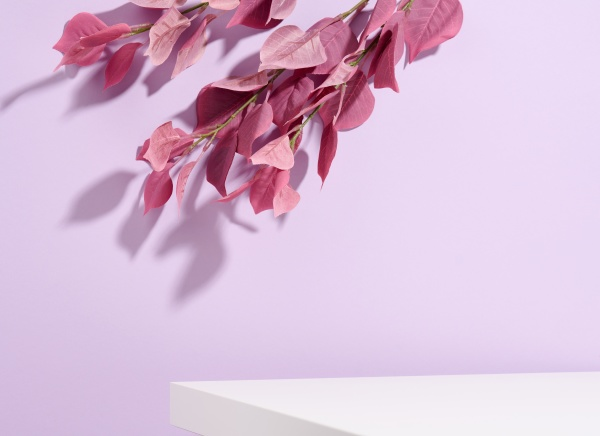 cosmetics product advertising stand with purple