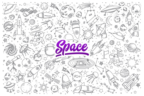 space doodle set with lettering