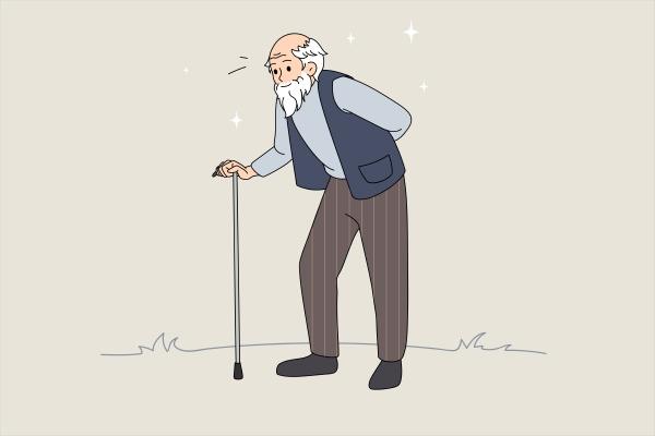 hand drawn vector illustration of senior
