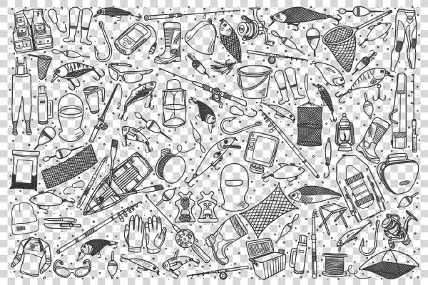 fishing shop doodle set
