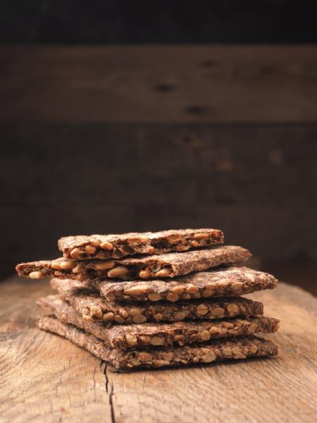 stacked organic crispbread on a rustic