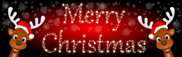 reindeers wishing merry christmas on shiny